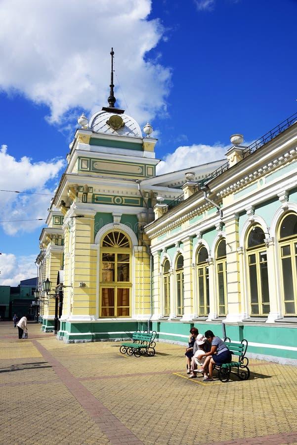Järnvägsstation i Irkutsk, östliga Sibirien, rysk federation arkivbild