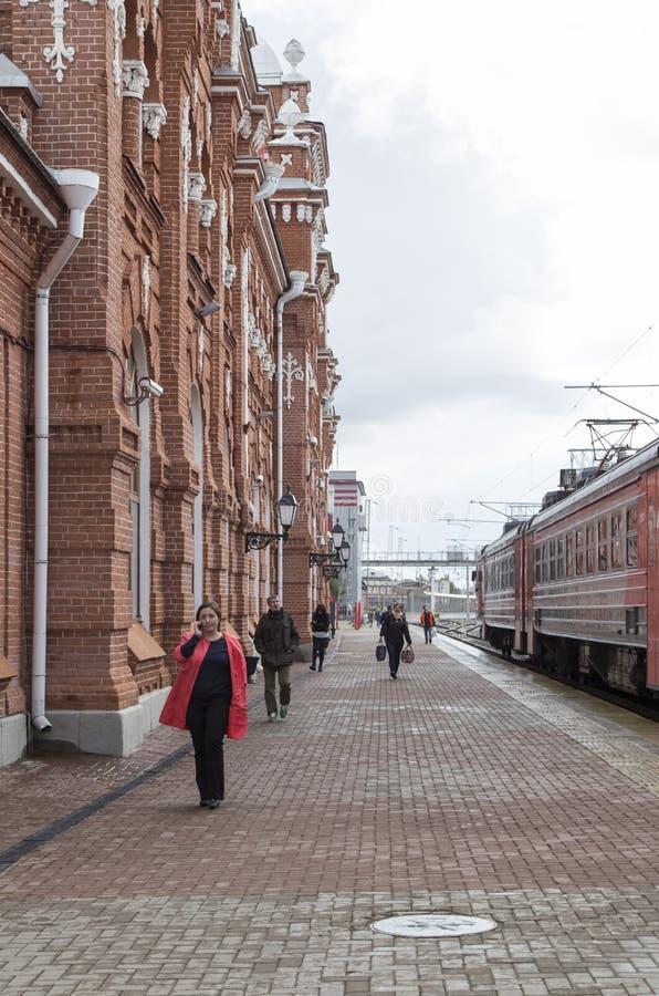 Järnvägsstation i kazan, ryssfederation royaltyfri bild