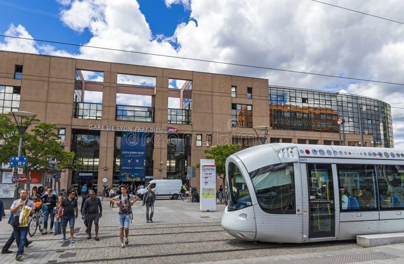 Järnvägsstation i Lyon, Frankrike Gare de Lyon Part-Dieu royaltyfri bild