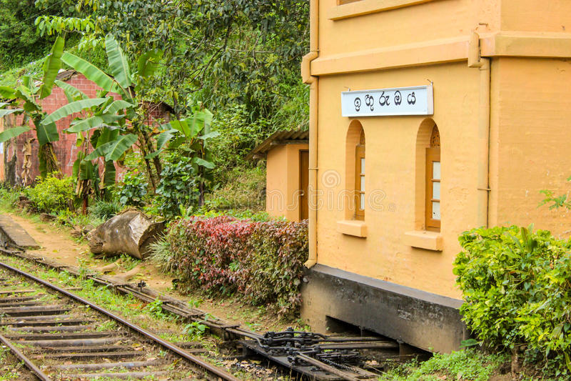 Järnvägsstation i Sri Lanka arkivbild