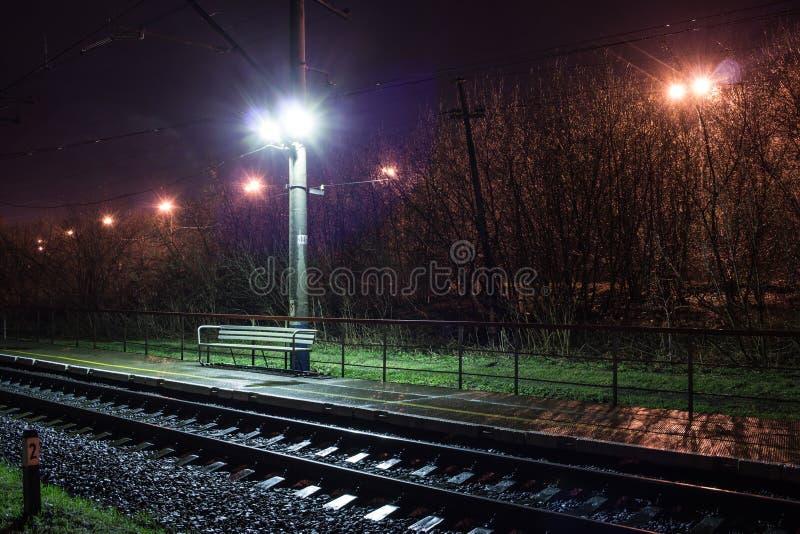 Järnvägsstation på natten med ett övergående drev royaltyfri bild