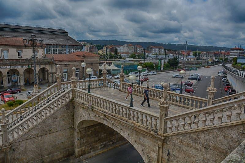 Järnvägsstation Santiago de Compostela royaltyfria foton