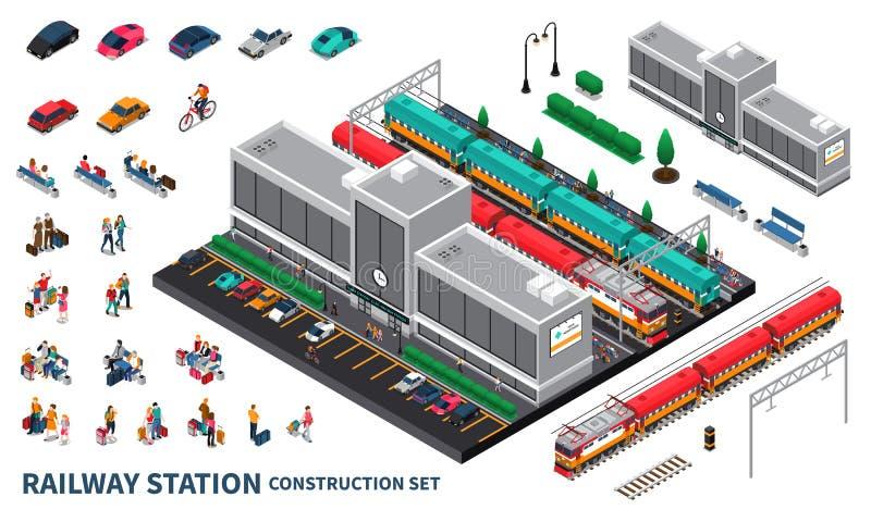 Järnvägsstationkonstruktöruppsättning stock illustrationer