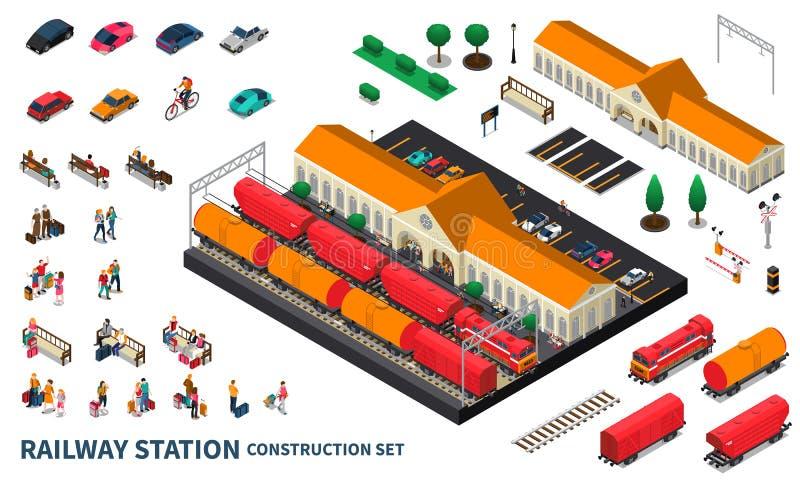 Järnvägsstationkonstruktionsuppsättning vektor illustrationer