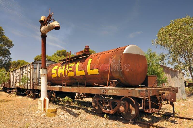 Järnvägsvagnar för gods i den största pionierbyn i den gamla Tailem Town Australia, Tailem Bend, Australien fotografering för bildbyråer