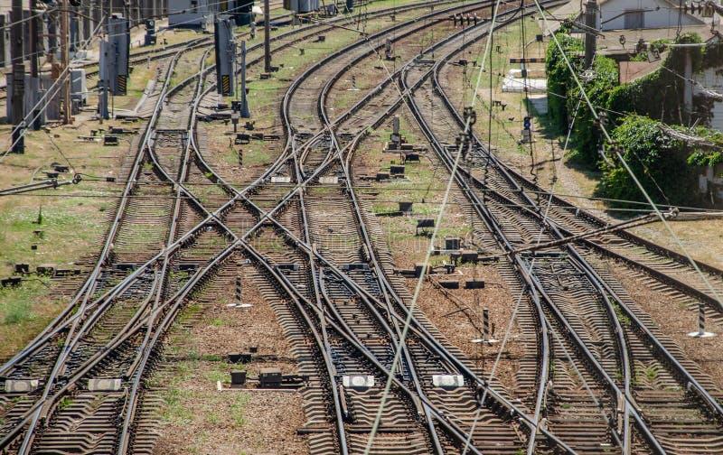 Järnvägutbyte arkivfoto