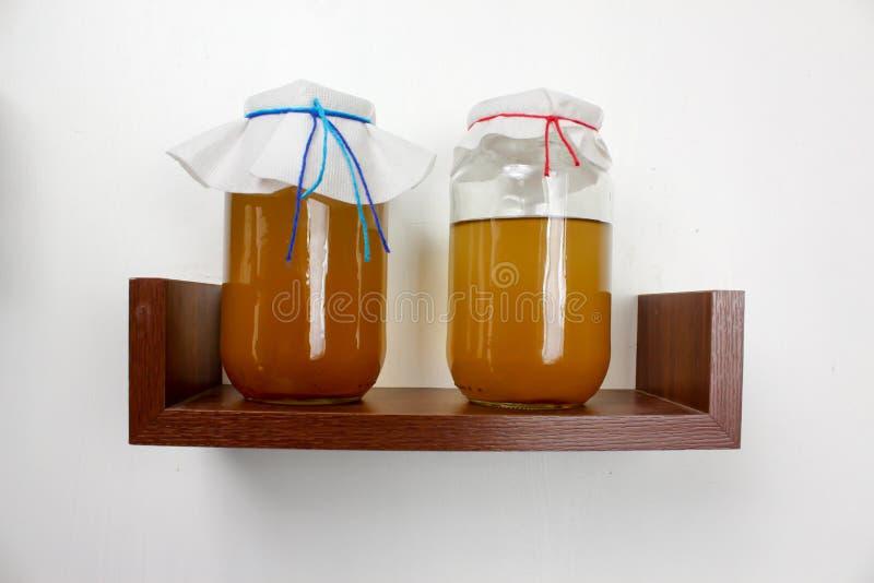 Jäst drink, sunt naturligt probiotic för juni te royaltyfri fotografi