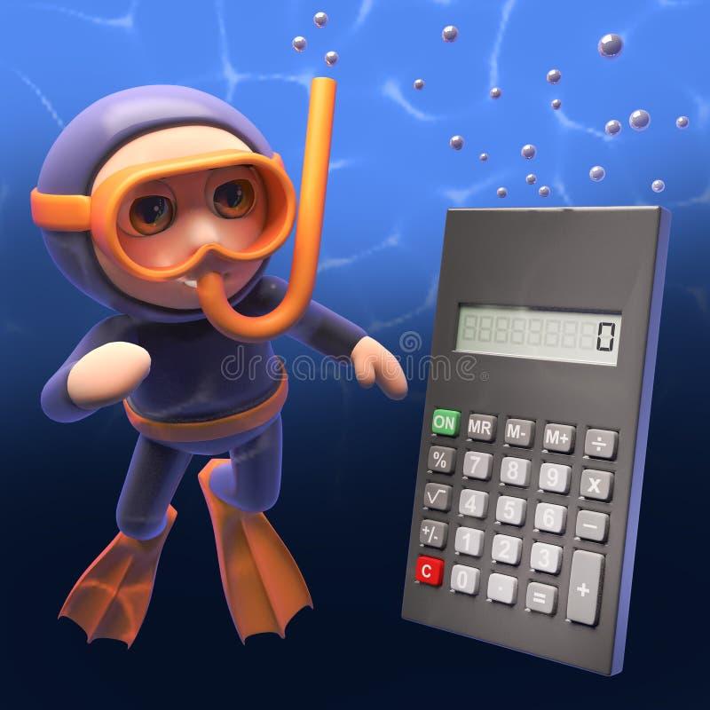 Jätte- digitala räknemaskinbad upp till snorkeldykaren, illustration 3d vektor illustrationer