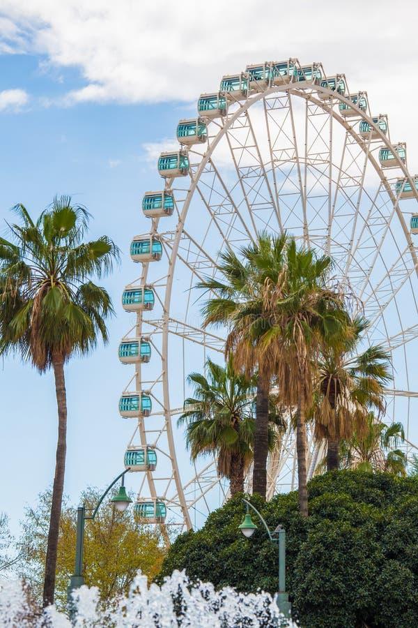 Jätte Ferris Wheel i Malaga fotografering för bildbyråer