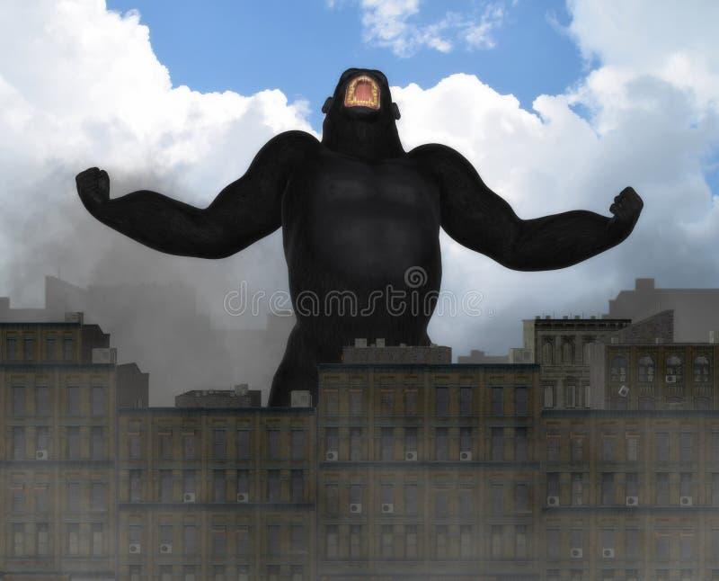Jätte Gorilla Invading City Fantasy Illustration stock illustrationer
