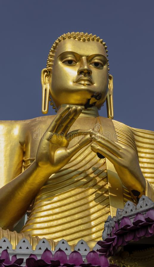Jätte- guld- Buddhastaty på den guld- templet av Dambulla i Sri Lanka royaltyfri fotografi