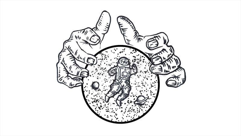 J?tte- h?nder som rymmer en sf?r med stj?rnor, planeter och astronautet p? vit bakgrund djur monokrom abstraktion vektor illustrationer