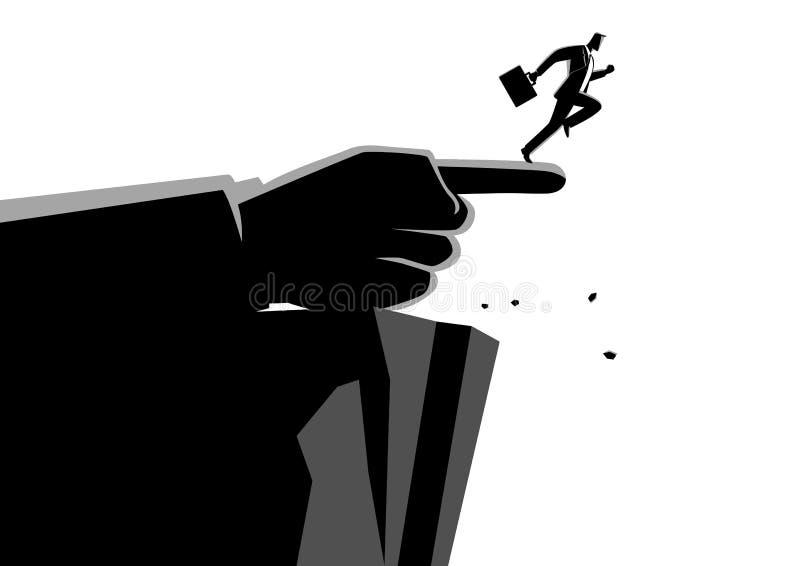 Jätte- hand som pekar till den fel vägen till en affärsman royaltyfri illustrationer