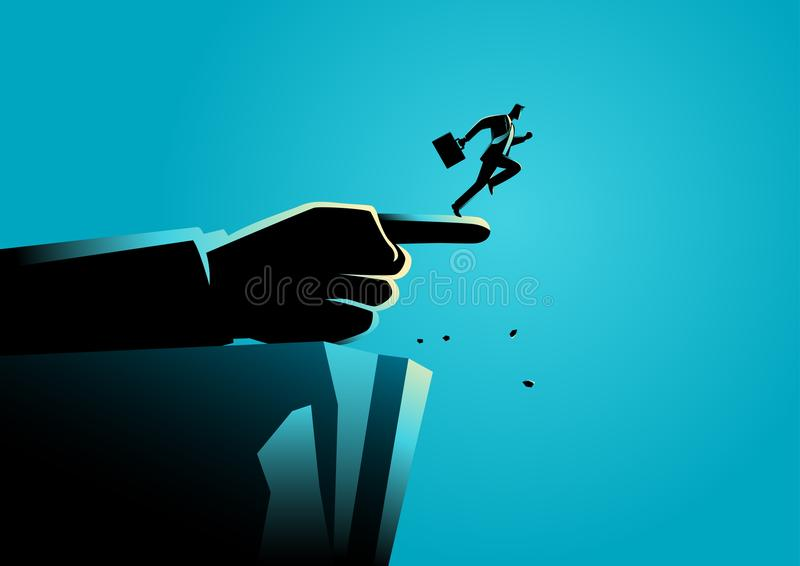 Jätte- hand som pekar till den fel vägen till en affärsman stock illustrationer
