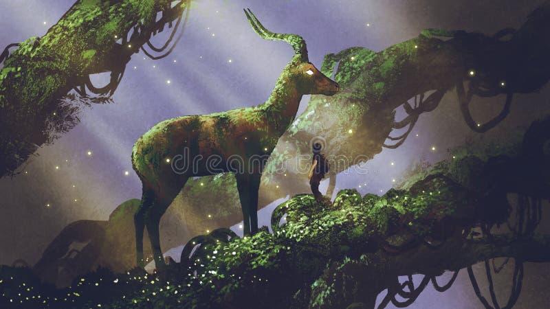 Jätte- hjortstaty i skog stock illustrationer