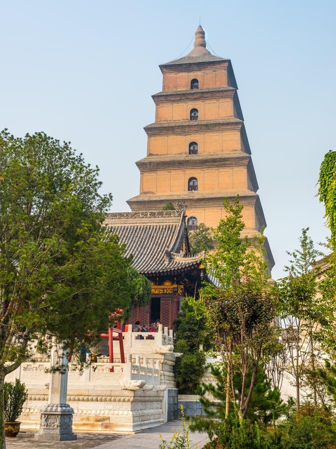 Jätte- lös gåspagod i Xi'an - Kina arkivbild