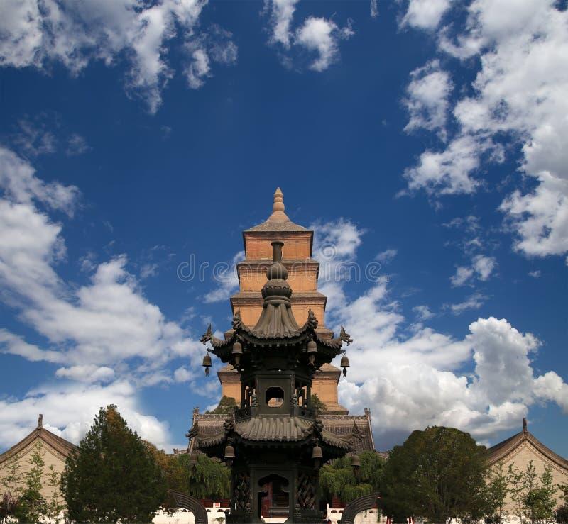 Jätte- lös gåspagod, Xian (Sian, Xi'an), Shaanxi landskap, Kina arkivbild