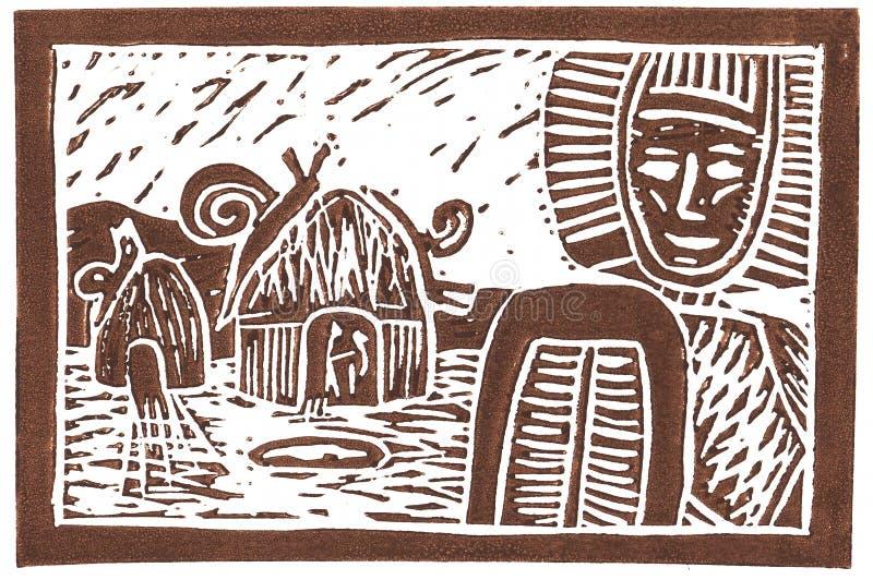 jätte- linocutsnails för ethno royaltyfri illustrationer