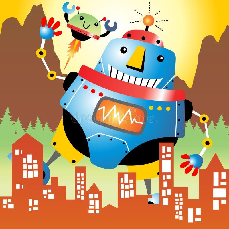 jätte- robot royaltyfri illustrationer