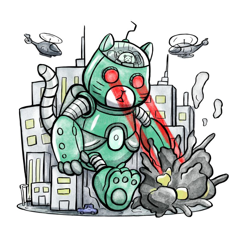 Jätte- robot Cat Destroying The City stock illustrationer