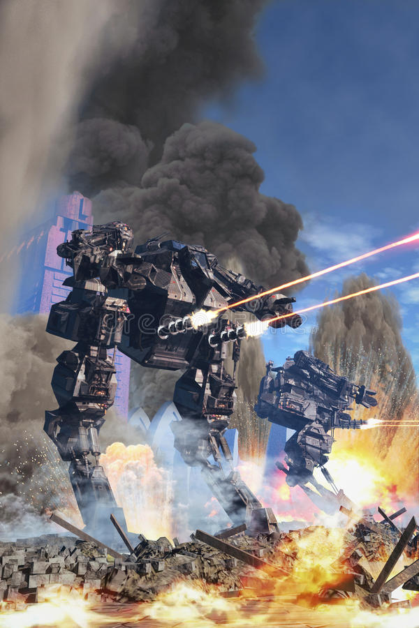 Jätte- robot på striden vektor illustrationer