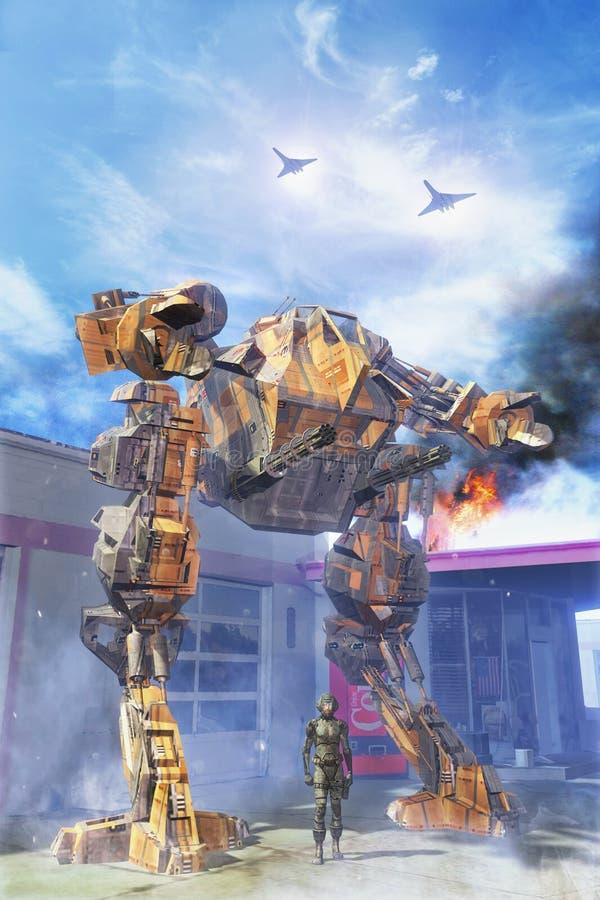 Jätte- robot på striden med piloten stock illustrationer