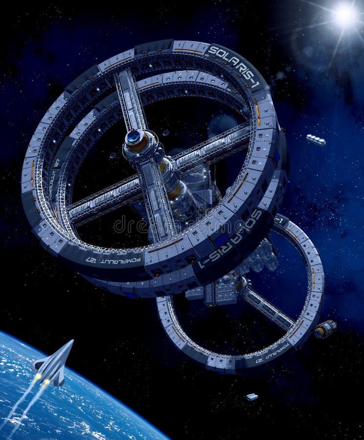 Jätte- rymdstation som kretsar kring planetjord stock illustrationer