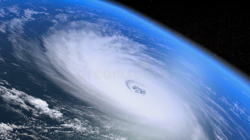 Jätte- storm som ses från utrymmet royaltyfri illustrationer