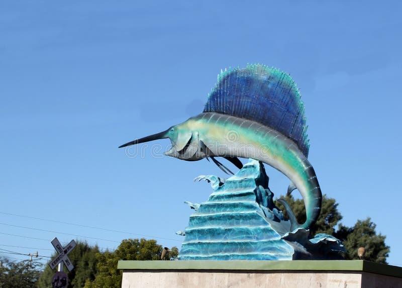 Jätte- svärdfiskstaty i Puerto Penasco, Mexico fotografering för bildbyråer