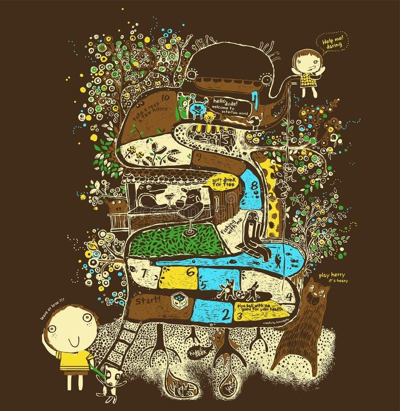 Jätte- träd för fantasi, lek, ormar och stegar, djur på trädillustrationen, vektor royaltyfri illustrationer