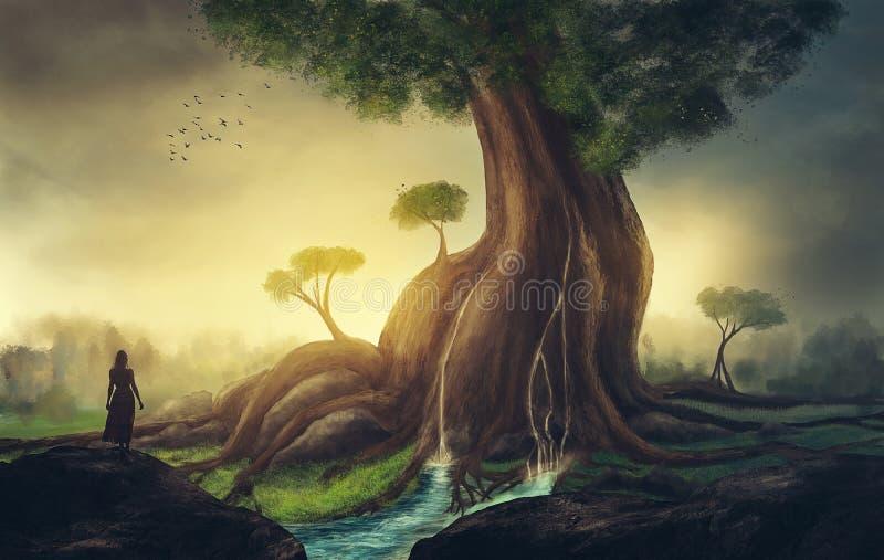 jätte- tree royaltyfri illustrationer