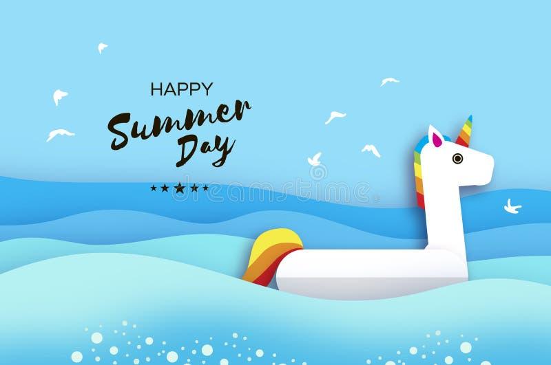 Jätte- uppblåsbar fantasi Unisorn i papperssnittstil Leksak för origamipölflöte Kristallklart blått havsvatten Sommar royaltyfri illustrationer