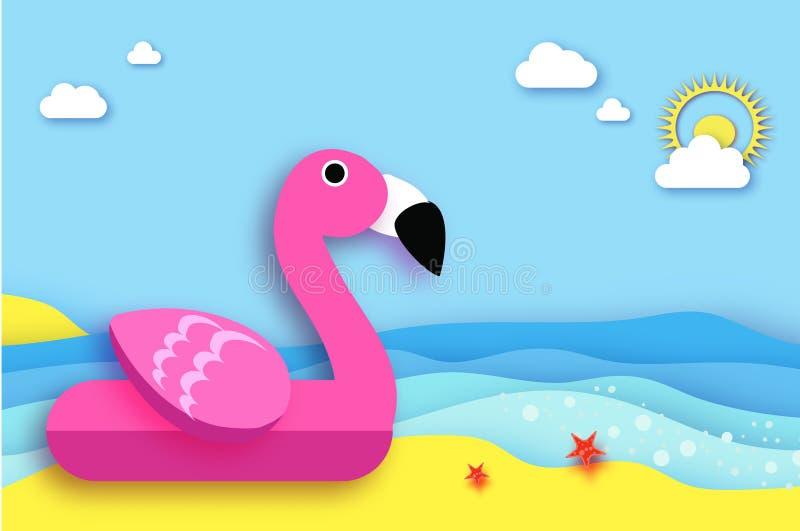 Jätte- uppblåsbar rosa flamingo i papperssnittstil Leksak för origamipölflöte på den soliga stranden med sand och kristallklart stock illustrationer