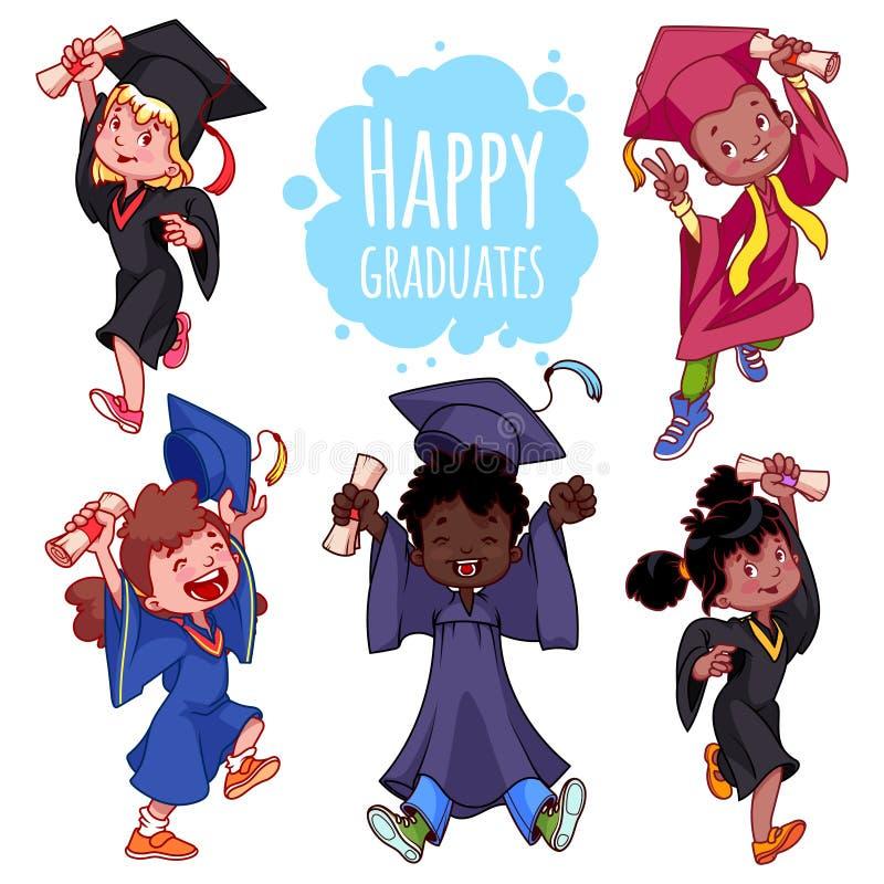 Jätteglade ungar Kandidater i kappor och med ett diplom i hand royaltyfri illustrationer