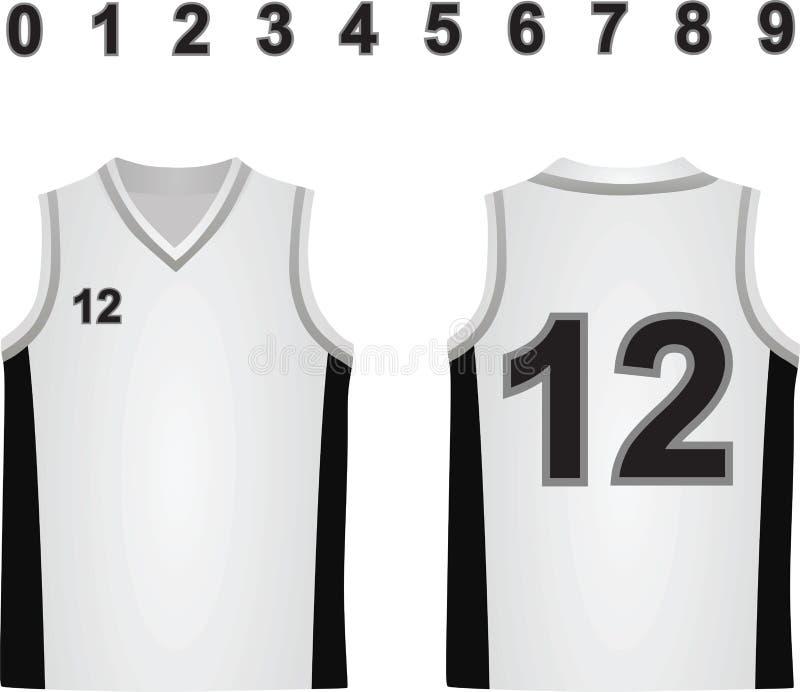 Jérsei branco do basquetebol ilustração do vetor