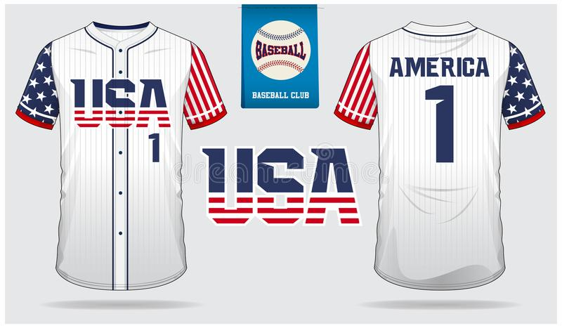 Jérsei de basebol dos EUA, uniforme do esporte, esporte do t-shirt do raglan, curto, molde da peúga Zombaria do t-shirt do basebo ilustração stock
