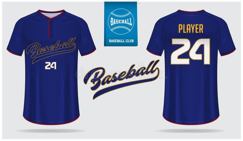 Jérsei de basebol, uniforme do esporte, projeto do molde do esporte do t-shirt do raglan Zombaria do t-shirt do basebol acima Par ilustração do vetor