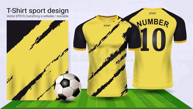 Jérsei de futebol e molde do modelo do esporte do t-shirt ilustração do vetor