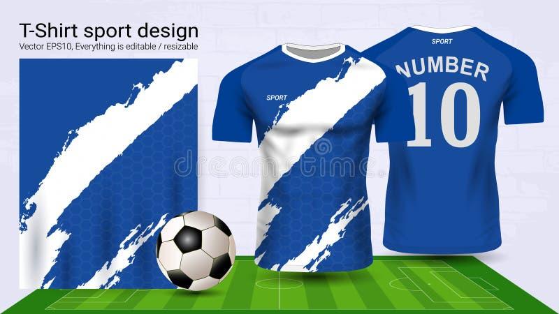 Jérsei de futebol e molde do modelo do esporte do t-shirt ilustração royalty free