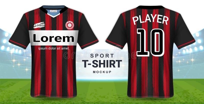 Jérsei de futebol e molde do modelo do t-shirt do esporte, opinião dianteira e traseira de projeto gráfico realístico para o fute ilustração stock