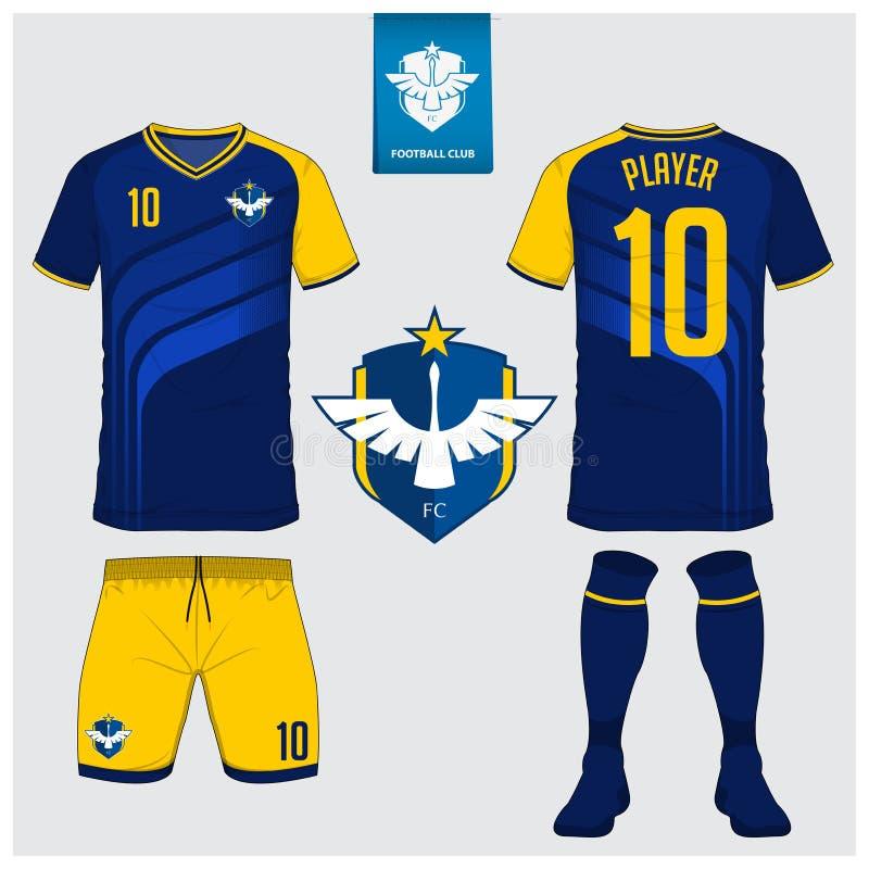 Jérsei de futebol ou molde do jogo do futebol para o clube do futebol Zombaria curto da camisa do futebol da luva acima Uniforme  ilustração royalty free