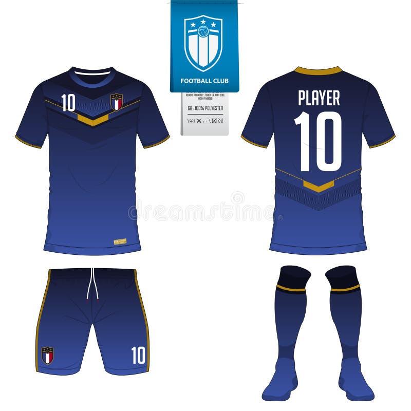 Jérsei de futebol ou molde do jogo do futebol para o clube do futebol Zombaria da camisa do futebol acima Uniforme dianteiro e tr ilustração stock