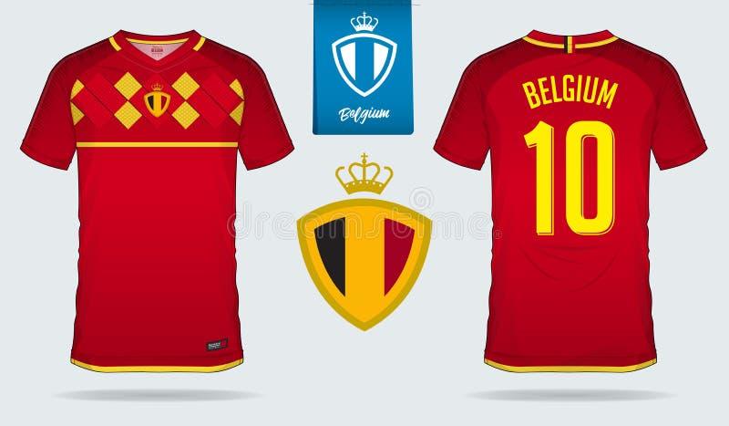 Jérsei de futebol ou projeto do molde do jogo do futebol para a equipa de futebol do nacional de Bélgica Uniforme dianteiro e tra ilustração stock