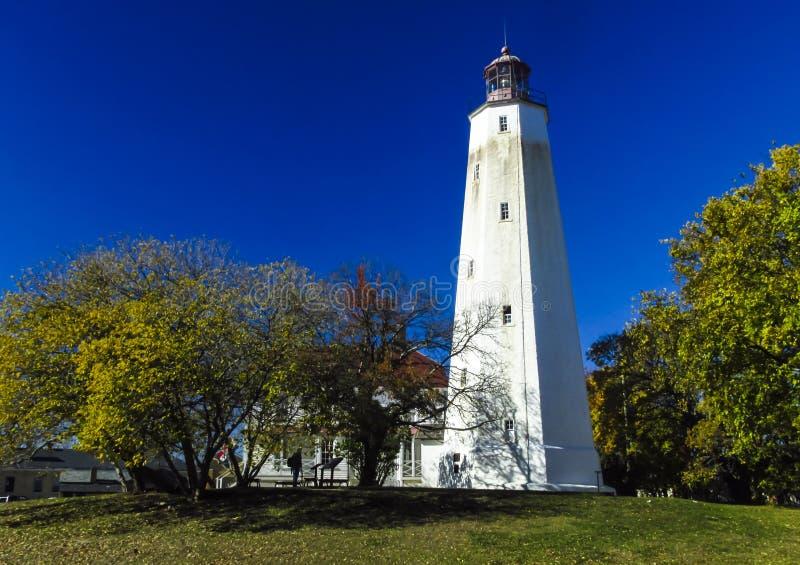 Jérsei de Sandy Hook Point Lighthouse New imagens de stock