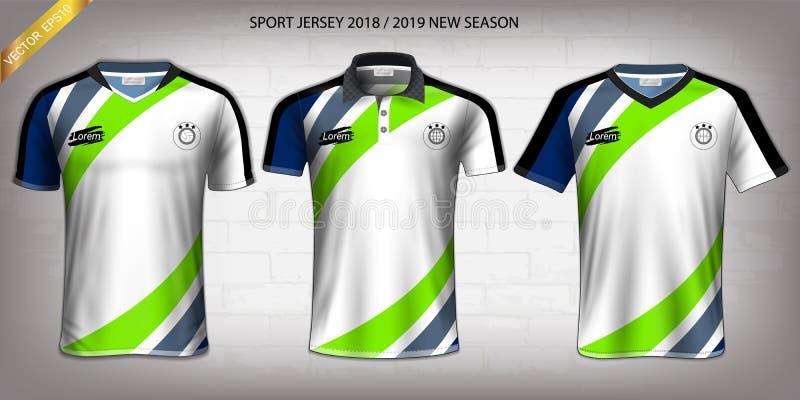 Jérsei do esporte, molde do modelo do projeto do t-shirt, Front View para seus uniformes feito-à-medida ilustração do vetor