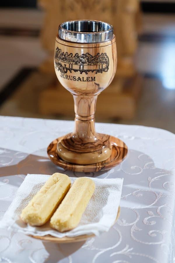 Jérusalem graved sur le verre en bois photographie stock libre de droits