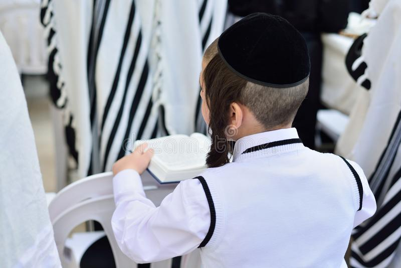 JÉRUSALEM, ISRAËL - AVRIL 2017 : Hasidic juifs prient le Wester image libre de droits