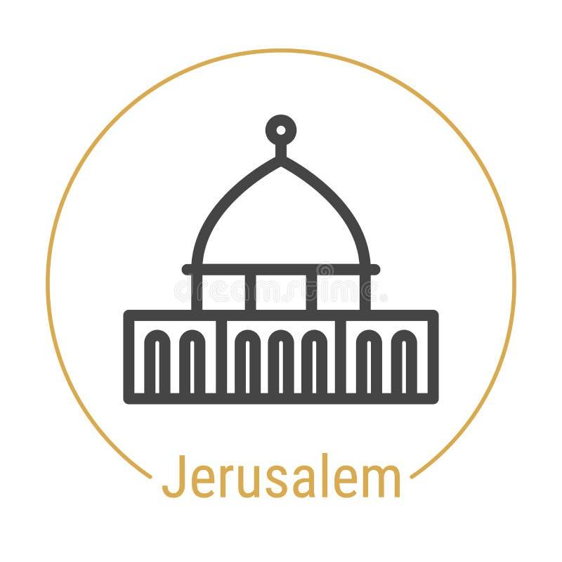 Jérusalem, Israel Vector Line Icon illustration de vecteur