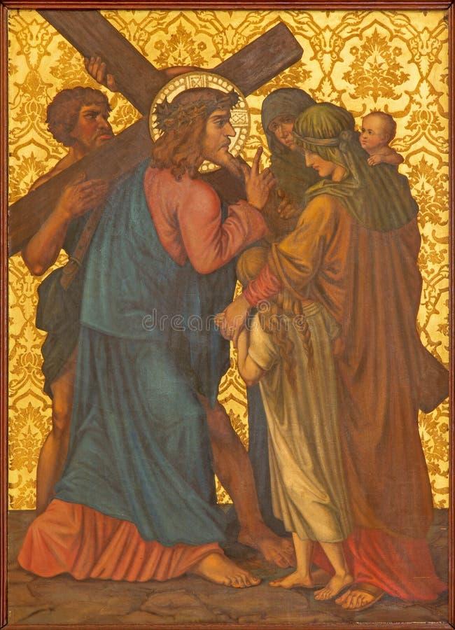 Jérusalem - Jésus rencontre les femmes de la peinture de Jérusalem de la fin de 19 cent dans l'église arménienne de notre Madame  images libres de droits