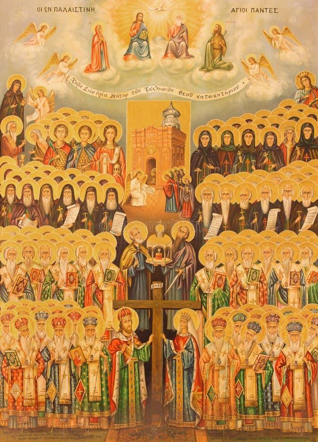 Jérusalem - l'icône de la hiérarchie du ciel dans l'église de la tombe sainte photographie stock